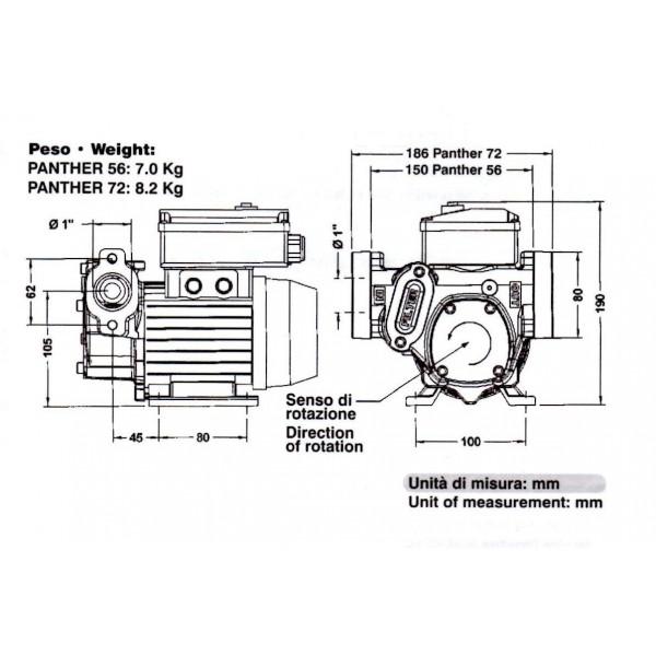 náhradní čerpadlo na naftu  PANTHER CUBE 72 230V  do stojanů PIUSI
